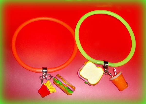 Ham and Cheese Sandwich with Orange Pop - Gummy Rubber Bracelets