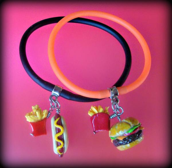 Lunch Time Hot Dog and Hamburger Polymer Clay - Gummy Rubber Bracelets